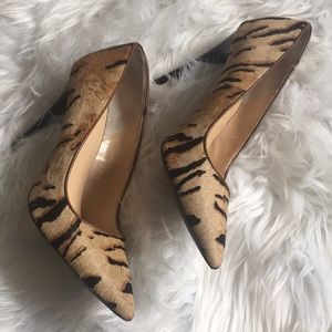 DMSX Tiger print calf hair heels